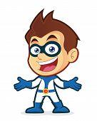 Superhero in welcoming gesture