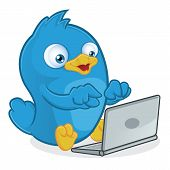 stock photo of working animal  - Clipart Picture of a Blue Bird Cartoon Character with Laptop - JPG