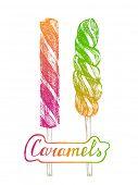2 bright hand drawn lollipops