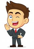 Vector Businessman Gesturing Ok and Winking