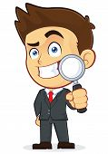 Vector Businessman Holding a Magnifying Glass