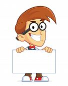 image of dork  - Clipart Picture of a Nerd Geek Cartoon Character Holding Sign - JPG
