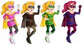 illustration of a set of female superhero