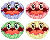 foto of clam  - Illustration of clams with faces - JPG