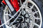 modern motorcycle wheel close-up