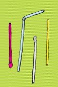 Cartoon Straws Over Green