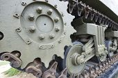 Close-up of tracks of a tank
