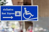Boat Express Pier Signboard Showing Disabled Facilities