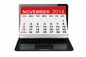 November Calendar Over Laptop Screen