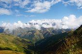 Caucasus Mountains In Upper Svaneti,view From Latfari Pass,famous Trekking Route To Ushguli Village,