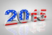 New Year 2015 Sign As Usa Flag