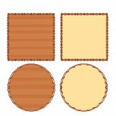 Frame Wood And Wicker Vector