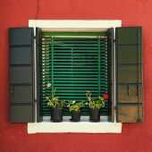 Window with green shutters. Burano
