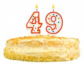 Birthday Cake Candles Number Forty Nine Isolated