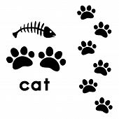 stock photo of paw  - animal paw prints whith text on white background - JPG
