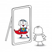 stock photo of mirror  - Karen super girl in the mirror - JPG