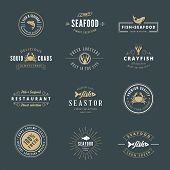 picture of logo  - Seafood Hipster Logo design vector typography lettering templates. Retro Vintage Labels such as logos, logotypes, label, badges, stamps and symbols. - JPG