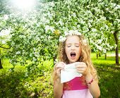 stock photo of allergy  - Sneezing girl - JPG