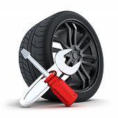 stock photo of rework  - Car wheel on a white background  - JPG