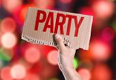 stock photo of bachelor party  - Party card with colorful background with defocused lights - JPG