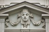 picture of building relief  - Mascaron on the Art Nouveau building in Prague - JPG