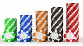 Casino Or Roulette Chip Stacks Over White