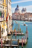 image of salute  - Gorgeous view of the bussy Grand Canal and Basilica Santa Maria della Salute - JPG