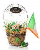 image of irish flag  - A basket filled with orange and green foliage - JPG