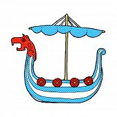 stock photo of viking ship  - retro comic book style cartoon viking ship - JPG