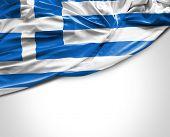 stock photo of greeks  - Greek waving flag on white background - JPG