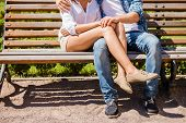 foto of sitting a bench  - Close - JPG