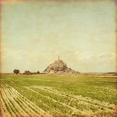stock photo of michel  - Old style photo of Mont Saint Michel - JPG