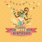 image of monkeys  - Vintage birthday greeting card with a monkey on a geometric retro background - JPG