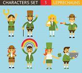 picture of leprechaun  - Leprechauns Ggnomes Characters set Celebration St - JPG