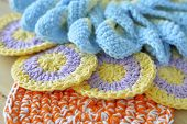 foto of doilies  - Crochet colored yarn knitted doily beautiful decoration for the home - JPG
