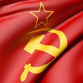 stock photo of communist symbol  - 3d rendering of an old soviet flag - JPG