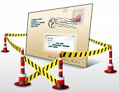 picture of safety barrier  - Dangerous envelope surrounded barrier tape - JPG