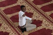 stock photo of muslim man  - Black African Muslim Man Showing Thumbs Up - JPG