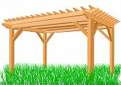 pic of pergola  - wooden pergola isolated on a white background - JPG