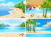 stock photo of beach-ball  - four scenes of beaches - JPG