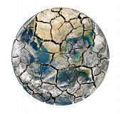 pic of shivering  - Cracked earth planet isolated on a white background - JPG