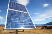 stock photo of steppes  - Solar panel set in Patagonian steppe - JPG