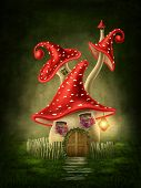 picture of fairy-mushroom  - Fantasy mushroom house in the forest - JPG