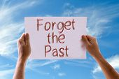 image of past future  - Forget the Past card with sky background - JPG