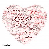 picture of desire  - Vector concept or conceptual red wordcloud text in shape of heart symbol isolated on white background - JPG