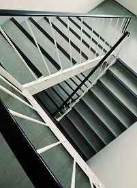 pic of ugly  - Old ugly and dirty staircase of a 1960s apartment building - JPG