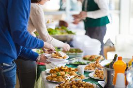 picture of banquet  - Banquet lunch break at conference meeting - JPG