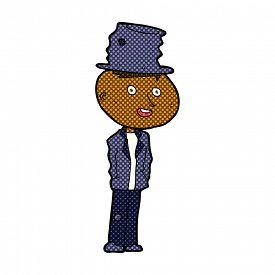 pic of hobo  - retro comic book style cartoon funny hobo man - JPG