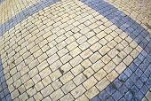 stock photo of distortion  - Top view of the pavement of rectangular stones with wide angle distortion view - JPG