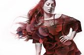 foto of plus size model  - plus size model with a blowing hair double exposure flowers - JPG